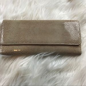 HOBO faux croc embossed leather tri-fold wallet